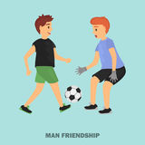 Two friend play football color illustration for web and moile design. Two friend play football color illustration stock illustration