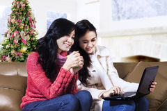 Two friend shopping online Royalty Free Stock Photo