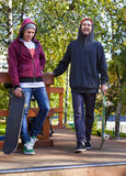 Two friend in skatepark Stock Images