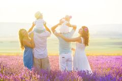 Two friendly family in a lavender field royalty free stock photo
