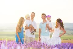 Two friendly family in a lavender field royalty free stock image