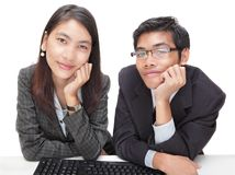 Two friendly marketing representatives Stock Photo