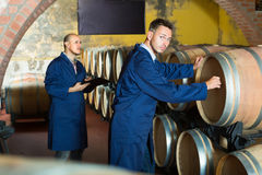 Two friendly men winery employees writing note Stock Images