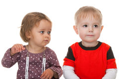Two friendly toddlers Stock Images