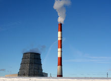 Two friends. Two chimneys of a power plant Stock Image