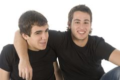 Two friends. Portrait of two friends on white background Royalty Free Stock Photo