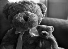 Two Friends. Two teddy bears sitting on the sofa in bedroom Stock Photo