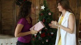 Two friends argue over Christmas gift.  stock footage