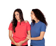 Two friends asking forgiveness. Isolated on white background royalty free stock photos