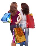 Two friends from the back with shopping Royalty Free Stock Photography