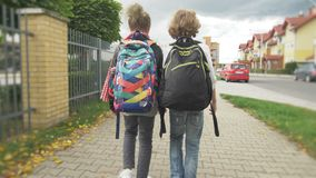 Two Friends with Backpacks are Going to School. Sister with her Brother Back to School. Sun is on Background. stock video footage