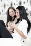Two friends chatting over wine Stock Images