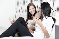 Two friends chatting over wine Stock Photo