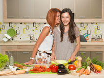 Two friends cooking together Royalty Free Stock Photos