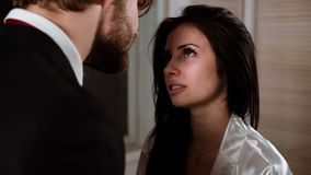 Two friends or couple talking. Couple talking at home. Couple have conversation stock footage