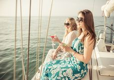 Two friends on a cruise Stock Photo