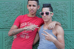 Two friends in Cuba Royalty Free Stock Image