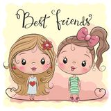 Two Cute cartoon girls. Two friends Cute cartoon girls on a yellow background vector illustration