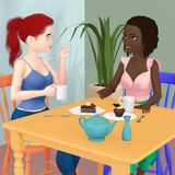 Two friends eating cake and drinking tea royalty free illustration