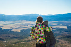 Two friends enjoy the panoramic view Stock Images