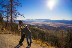 Two friends enjoy the panoramic view Stock Photo