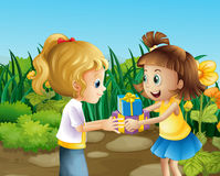 Two friends exchanging gifts outdoor Stock Photo