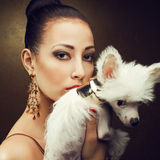 Two friends:  fashionable model with her puppy Royalty Free Stock Images