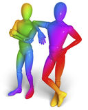 Two friends, figures, gay men standing proud. 3d rendering isolated on white background Stock Photo