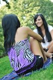 Two friends - girls talking outside Royalty Free Stock Photos