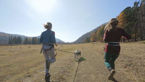 Two friends girls walking their racing very active. Autumn country road next to the mountains and very close to the forest on which run two girls hitched to his stock footage