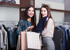 Two friends go shopping Stock Photos