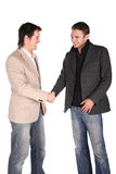 Two friends handshake Stock Photos