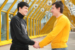 Two friends handshaking on footbridge Royalty Free Stock Photos
