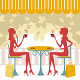 Friends having coffee or tea. Two friends having coffee or tea and talking Royalty Free Stock Image