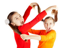 Two friends insulted each other. Girls quarreled and insulted each other Stock Photos