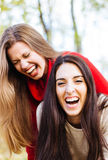 Two friends joking and laughing Stock Photos