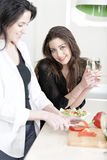 Two friends in a kitchen cooking Stock Images