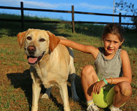 Two friends a Labrador Retriever and a child. Two friends a Labrador Retriever and a little girl outdoor Stock Images