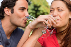 Two friends link their arms together while drinking champagne Stock Photos
