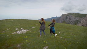 Two friends in a meadow in the mountains. stock footage