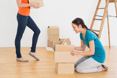 Two friends moving together in a new house Stock Photos