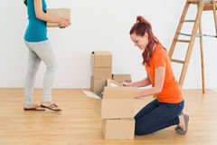 Two friends moving together in a new house Royalty Free Stock Photography