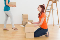 Two friends moving together in a new house Royalty Free Stock Image