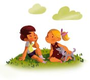 Two friends outdoors royalty free illustration