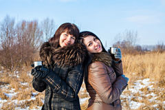 Two friends outdoors at winter Royalty Free Stock Photos