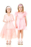 Two friends in a pink dress . Royalty Free Stock Images