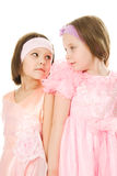Two friends in a pink dress Stock Images