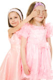 Two friends in pink dresses Stock Photo
