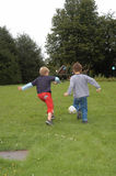 Two friends playing. Soccer Royalty Free Stock Photos