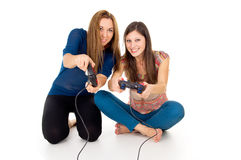 Two friends playing video game Stock Photo